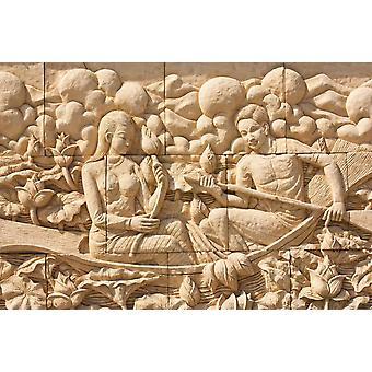 Tapete Wandbild Thai Stein schnitzen auf Tempelwand (18989183)