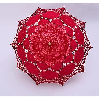 Vintage Victorian Lace Manual Opening Wedding Bridal Umbrella