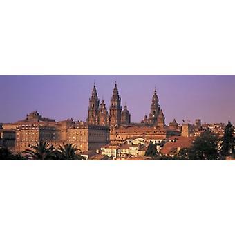 """كاتدرائية في سيتي سكيب """"سانتياغو دي كومبوستيلا كورونا غاليسيا إسبانيا طباعة ملصق"""""""