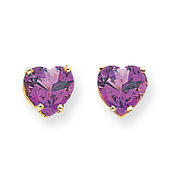 14k Yellow Gold Post Earrings 7mm Love Heart Amethyst Earrings Jewelry Gifts for Women - 2.20 cwt