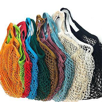 Pungi de cumpărături reutilizabile portabile, lavabile de bumbac Mesh String organic geantă de mână