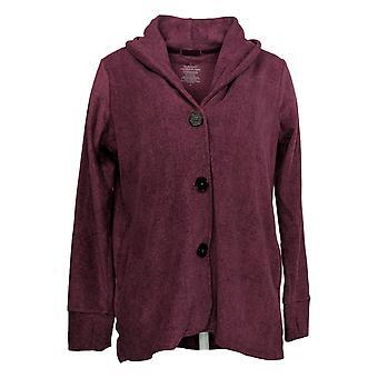 Cuddl Duds Women's Sweater Stretch Button Front Cardi Purple A369667