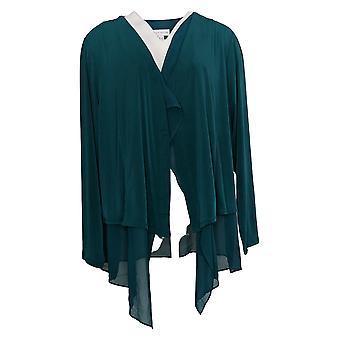 Susan Graver Donna Top Plus Maglia Liquida Cardi Chiffon Orlo Verde A387754