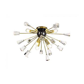 Plafón De Cristal Dorato 6 Bombillas Oro Cepillado