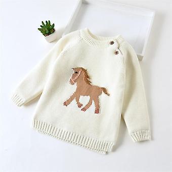 Talvi vauva sarjakuva hevonen kirjonta villapaita