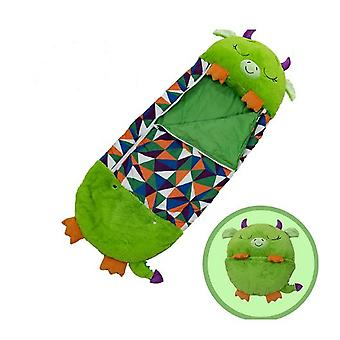 Green Children Sleeping Bag Soft Comfortable Easy To Carry Nap Pillow