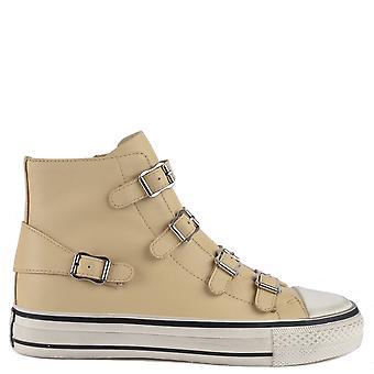 Ash Footwear Virgin Leather Buckle Trainers Vaniglia