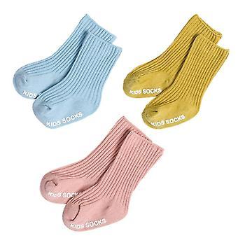 3 Pairs Cotton Baby Socks Winter Knit Warm Newborn Socks