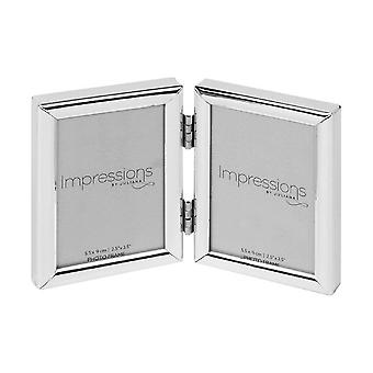 """Impressions By Juliana Double 2.5 X 3.5"""" Silver Plated Shiny Standing Photo Frame"""