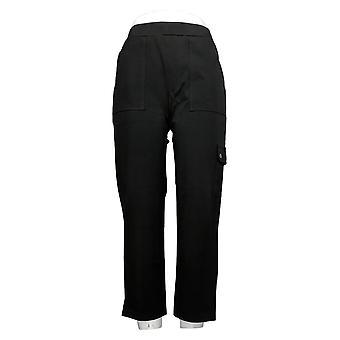 Susan Graver Women's Pants Premium Stretch Pull On Crop Black A394035