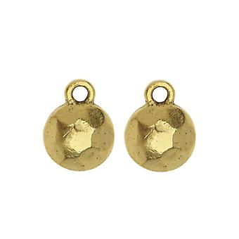 Final Sale - Metal Charm, Flat Back Faceted Circle 9mm, Antiqued Gold, 2 Pieces, by Nunn Design