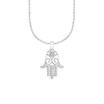 Amor Naisten kaulakoru fatima käsi riipus hopea 925 rhodium valkoinen zircons