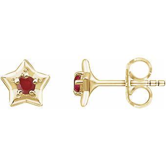 14k Oro Giallo Luglio Attrito Post Stella Lucida Orecchini giovani con schienali di attrito Regali gioielli per le donne