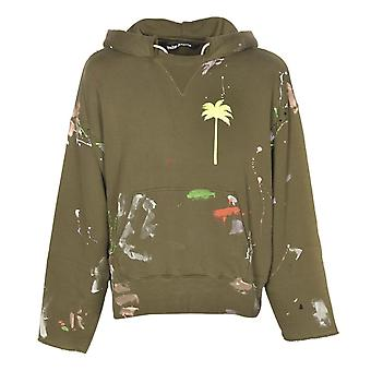 Palm Angels PXP Painted Raw Cut Green Hoodie