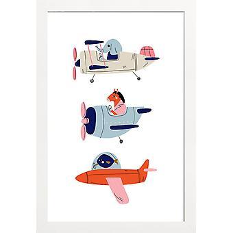JUNIQE Print -  Aeroplane Race II - Wildtiere Poster in Bunt