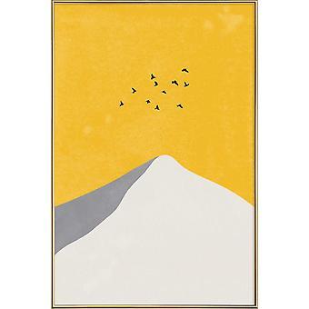 JUNIQE Print - Mountain Peak - Berg Affisch i Cream Vit & Gul