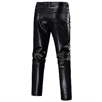 L black mens casual night club metallic moto style flat front faux leather pants x4912