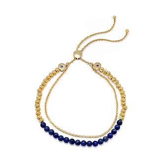 925 Sterling Silver 18k Gld Flashed Double Strand Lapis Bolo Bracelet Adjusts to 11 Inch a 1.5mm Blue CZ Jewelry Gifts f