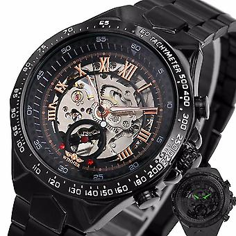 For 125 Roman Dials Automatic Mechanical Watch Black Case Full Steel Luminous Hand WS39354