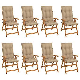 vidaXL כיסאות נוח בגינה עם כריות 8 יח'.