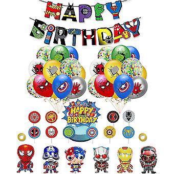 Superhelden Deko Geburtstag Marvel Luftballons Superheld Alles Gute zum Geburtstag Girlande Avengers
