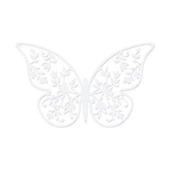 10 Pearl Ivory 8cm kort Blad Detaljerad Fjäril
