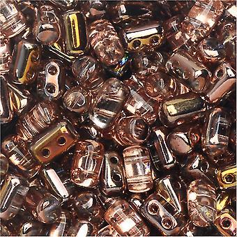 Tsjechisch glas matubo, cilindrische 2-gats Rulla kralen 3x5mm, 22 gram buis, Crystal Capri Goud