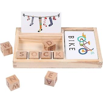 Matching Letter Game - Spell Learning Toy, Wooden English Alphabet Card Game Machine