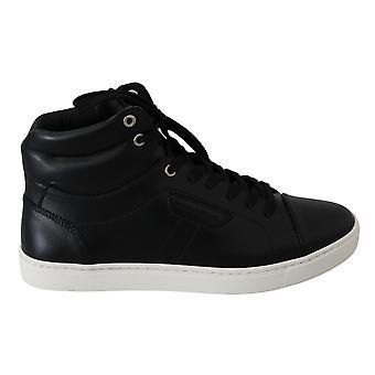 أسود الجلد dg شعار أحذية رياضية عالية الأعلى