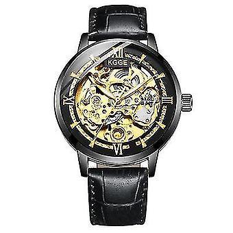 Męski w pełni automatyczny zegarek mechaniczny (czarny pasek)