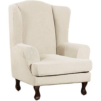 Stretch jacquard wingback chair covers slipcovers wing chair covers (base cover plus seat cushion cover, natural)