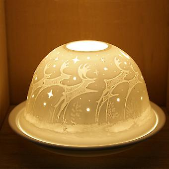 Nordic Lights Dancing Reindeer Tealight Candle Shade & Tray