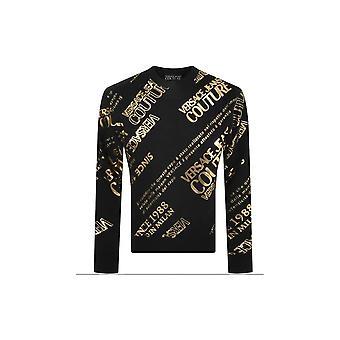 Versace Jeans Couture Allover Logo Print Cotton Black/gold Sweatshirt