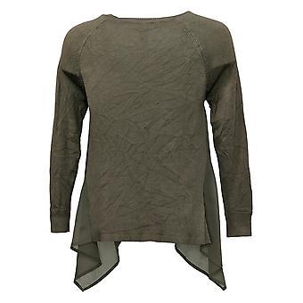 WynneLayers By MarlaWynne Women's Sweater SX Handkerchief Hem Green 682658