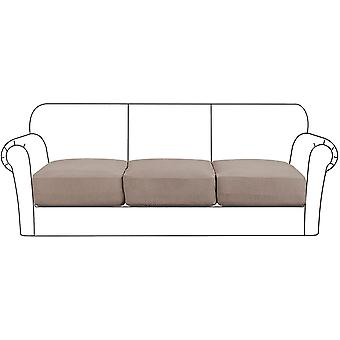 High stretch seat cushion cover sofa cushion furniture protector with elastic bottom for 1/2/3 seater, taupe