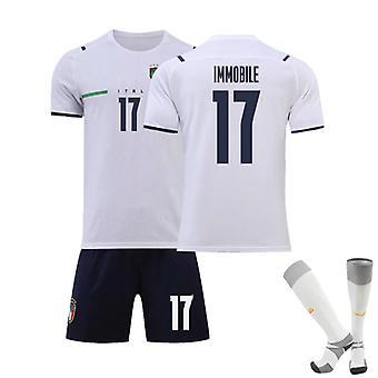 Ciro Immobile #17 Jersey European Italy National Soccer Teams Fotboll T-Shirts Jersey Set för barnungdomar