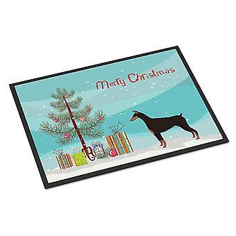 Door mats doberman pinscher christmas tree indoor or outdoor mat 24x36