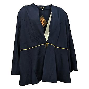 IMAN Global Chic Kvinner Pluss Konvertible Bell-Sleeve Blazer Blå 711210
