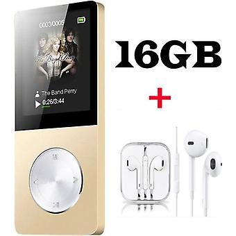 Mp3 / Mp4 Player 16gb Multi-function Walkman Metal Player Video Player Fm Radio Music Games + Earphones - Golden