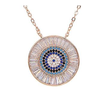 Jewelry Rose Gold Color AAA Cubic Zirconia Top Quality Geometric Round Pendant Link   Necklace