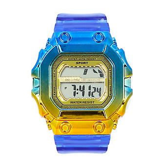 Gradient Color Square Big Dial Electronic Watch Student Waterproof Rainbow Color Watch