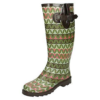 Womens Spot On Zig Zag Print Wellington Boots