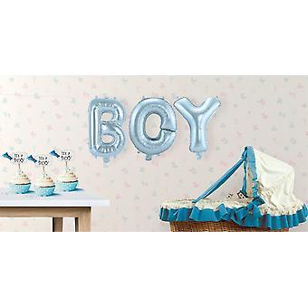 Balon foliowy 3 zestaw chłopiec list niebieski Garland 36 cm wysokie