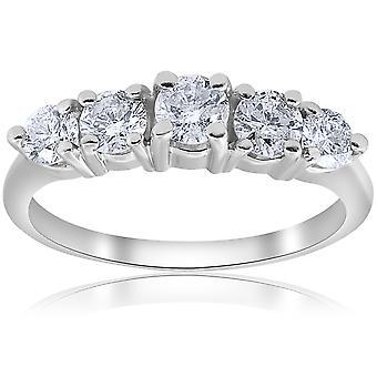1 CT 5 - piedra graduado anillo 14K oro blanco