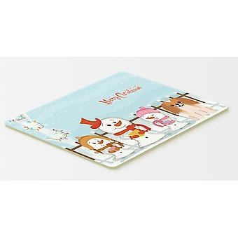 Merry Christmas Carolers Pekingnese Red White Kitchen or Bath Mat 20x30