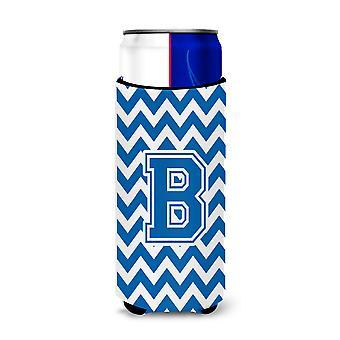 Lettera B Chevron Blue e bianco Ultra bevanda isolatori per lattine slim