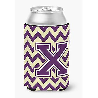 Letter X Chevron Purple and Gold Can or Bottle Hugger