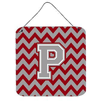 Buchstaben P Chevron Crimson und graue Wand oder Tür hängen Drucke