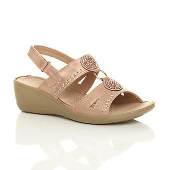 Ajvani womens mid wedge slingback diamante t-bar strappy comfort sandals