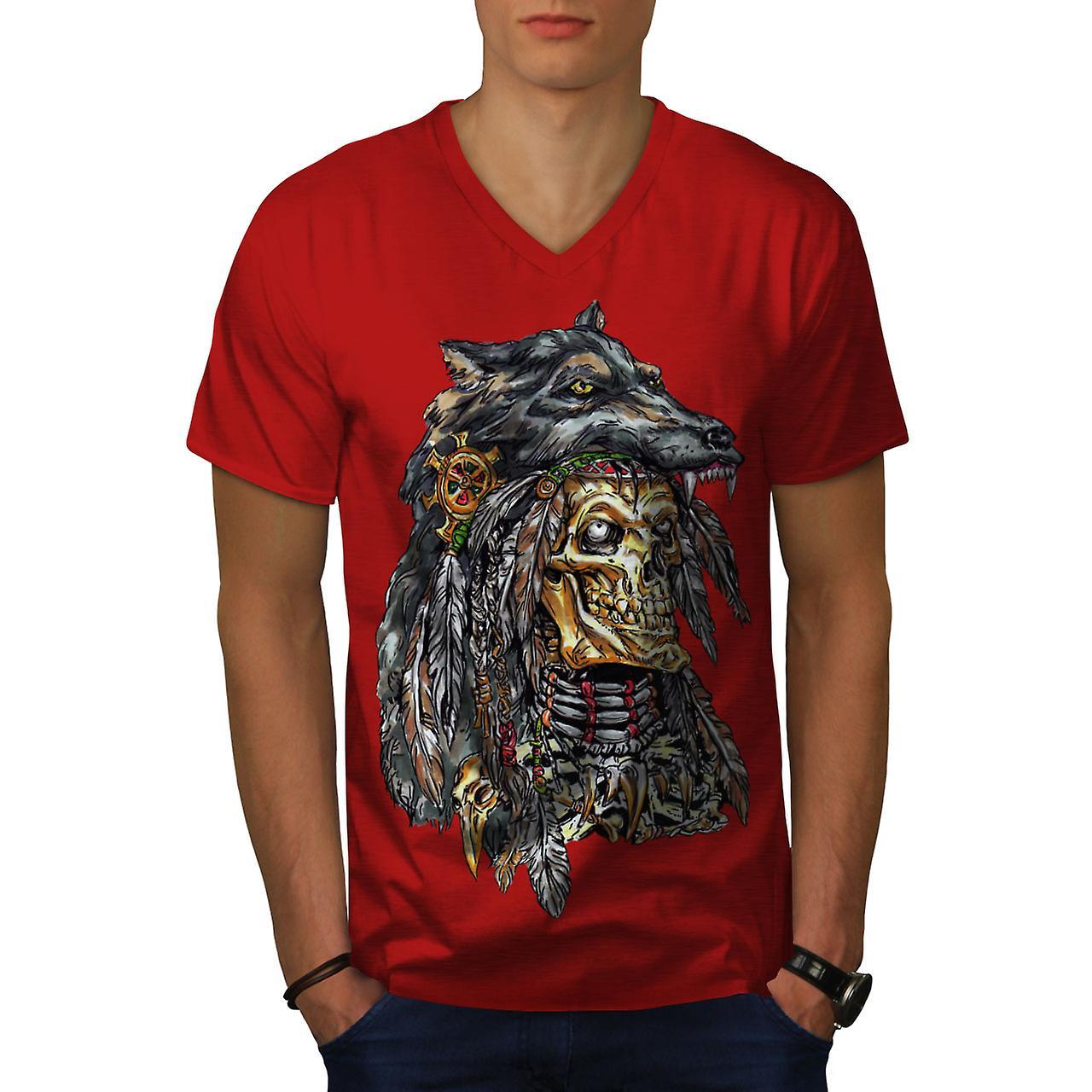 Wolf metall død Skull menn RedV hals t skjorte | Wellcoda